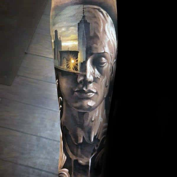 Forearm Sleeve Portrait With Skyline Awesome Ink Morph Tattoos For Men