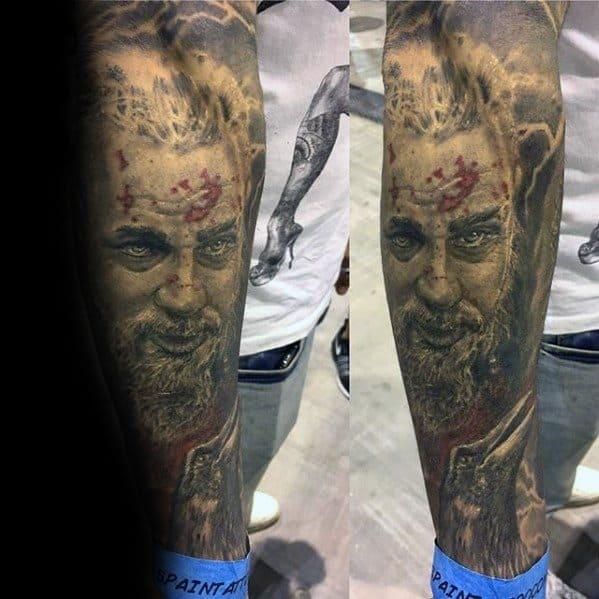 Forearm Sleeve Ragnar Tattoo Ideas For Males