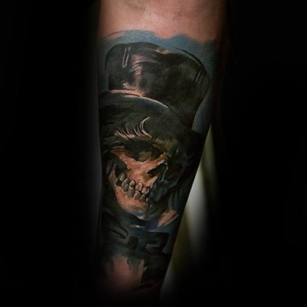 Forearm Sleeve Realistic Skull Male Cool Top Hat Tattoo Ideas