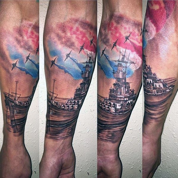 Forearm Sleeve Red White And Blue Ink Battleship Male Tattoo Ideas