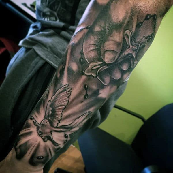 Forearm Sleeve Rosary Chain Tattoos For Males