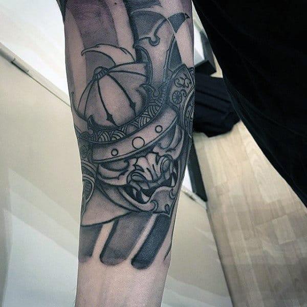 Forearm Sleeve Samurai Helmet Tattoo On Male