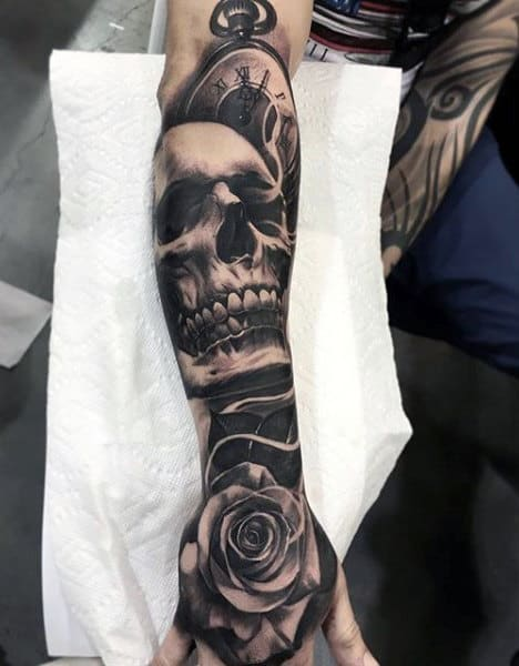 Forearm Sleeve Skull And Rose Black Ink Mens Tattoos