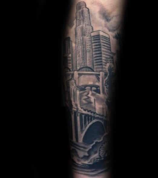 Forearm Sleeve Skyline With Bridge Male Tattoos