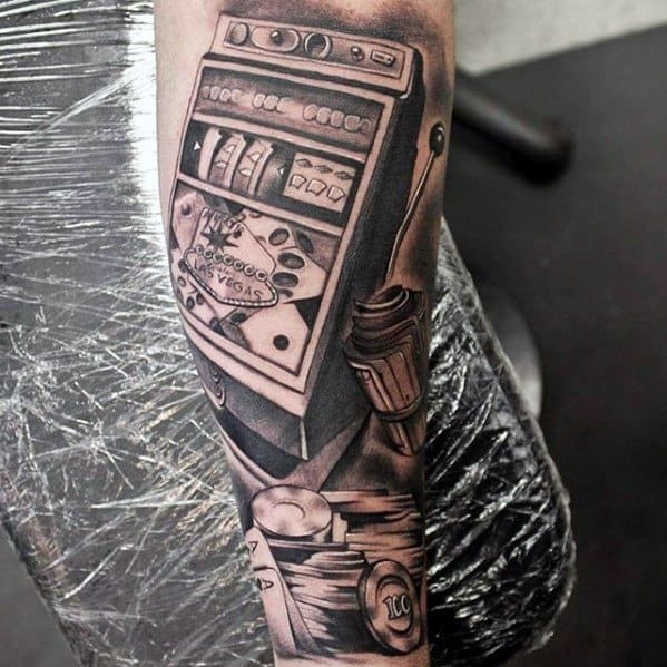 Forearm Sleeve Slot Machine Mens Tattoo Ideas