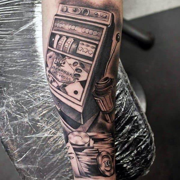 Forearm Sleeve Slot Machine Mens Tattoo Ideas