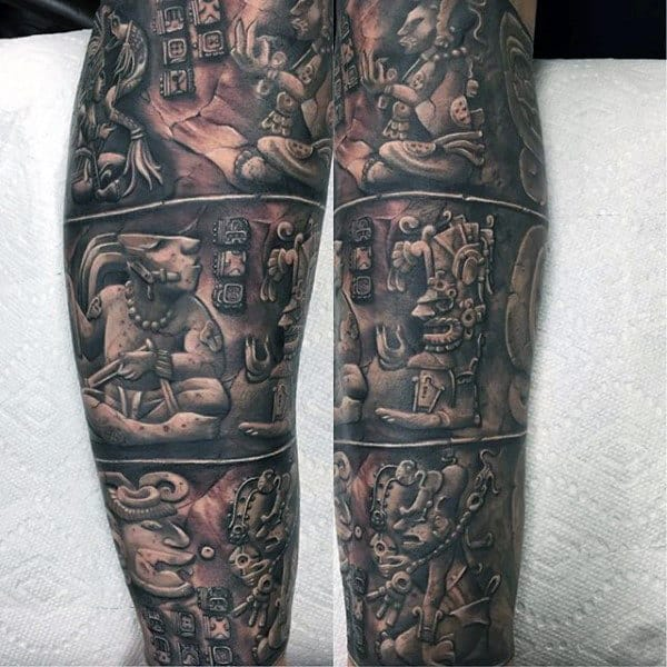 Forearm Sleeve Stone Mayan Male Tattoo Ideas