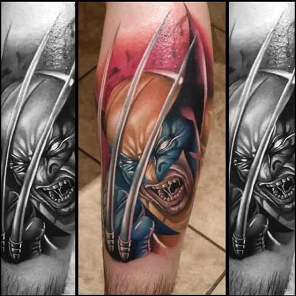Forearm Sleeve Tattoo Designs For Gentlemen With Wolverine Design
