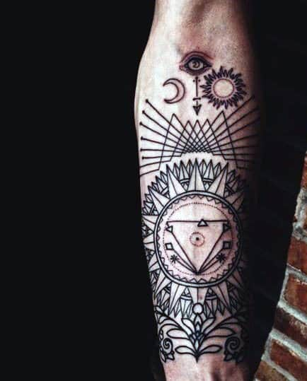 Sun And Moon Forearm Sleeve Tattoo Designs For Men