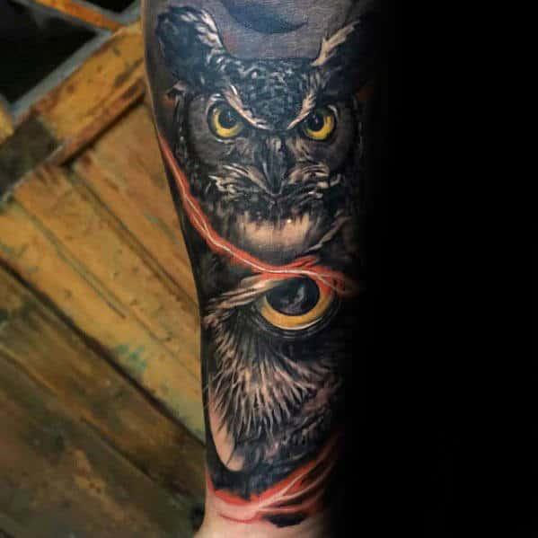 Forearm Sleeve Tattoo For Men With 3d Owl Eye Design
