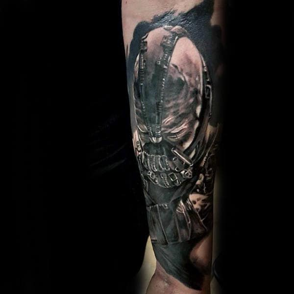Forearm Sleeve Tattoo For Men With Bane Design