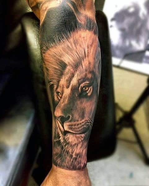 Forearm Sleeve Tattoo Of Cool Lion On Male