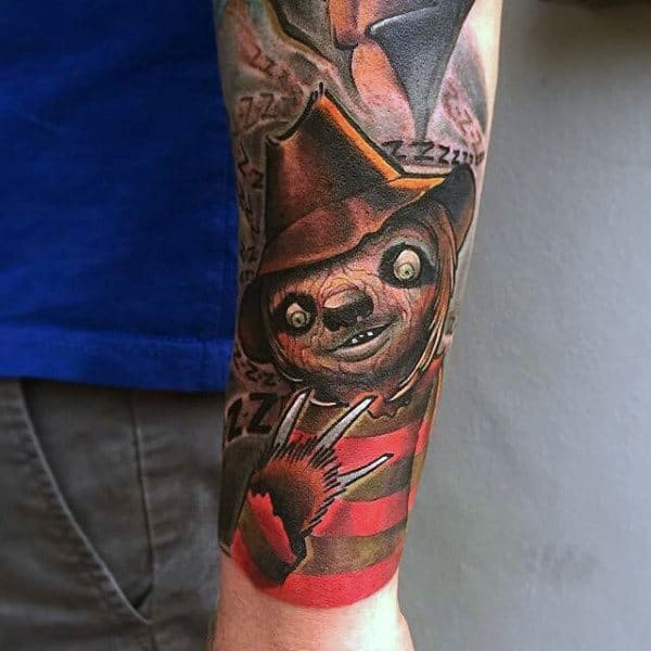 Forearm Sleeve Tattoo Of Edward Scissorhands Sloth On Male