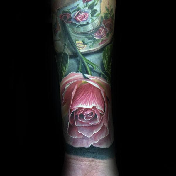 Forearm Sleeve Tattoo Of Realistic Rose On Gentleman