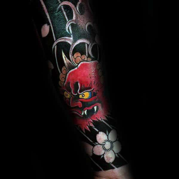 Forearm Sleeve Tattoo Of Red Japanese Demon For Guys