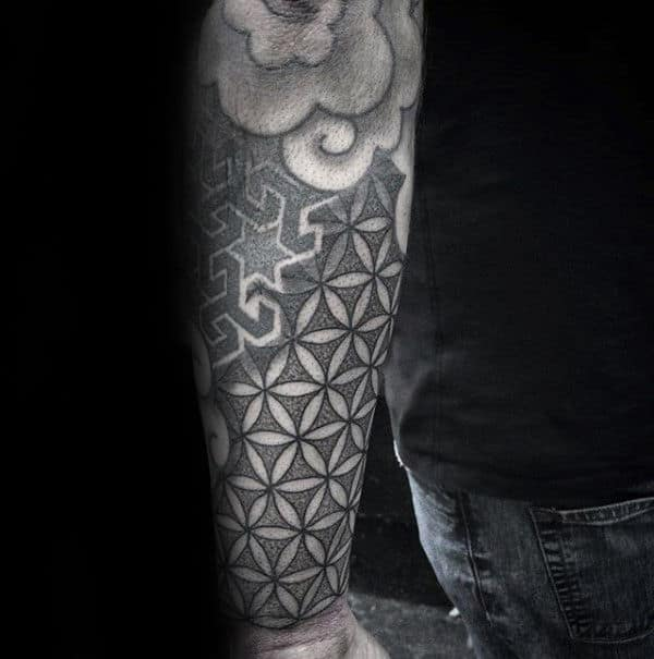 Forearm Sleeve Tattoo With Flower Of Life Design For Men