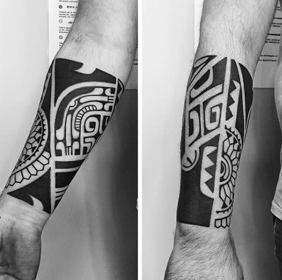 Forearm Sleeve Tattoo With Tribal Black Ink Design For Guys