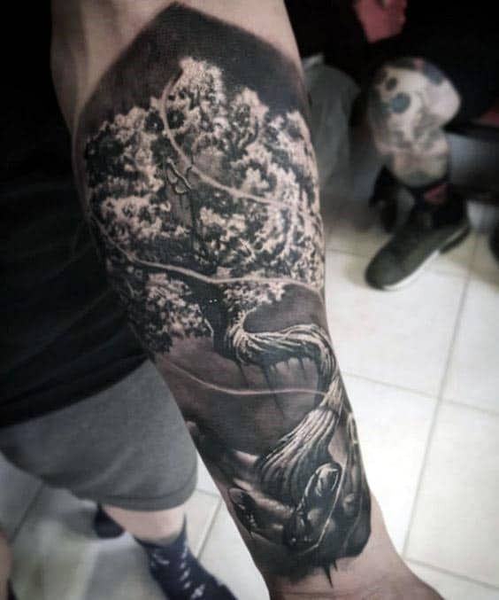 Forearm Sleeve Tree Of Life Realistic 3d Mens Tattoo Designs