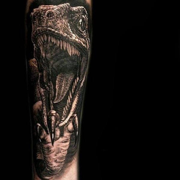 Forearm Sleeve Velociraptor Dinosaur Mens Realistic 3d Tattoos