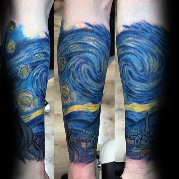Forearm Sleeve Vincent Van Gogh Stary Night Mens Tattoo Ideas
