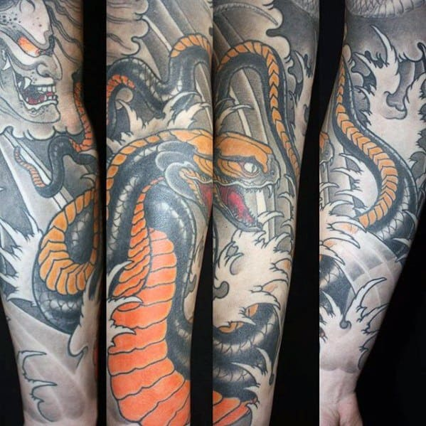 Forearm Sleeve Water Waves Japanese Snake Tattoo Design On Man