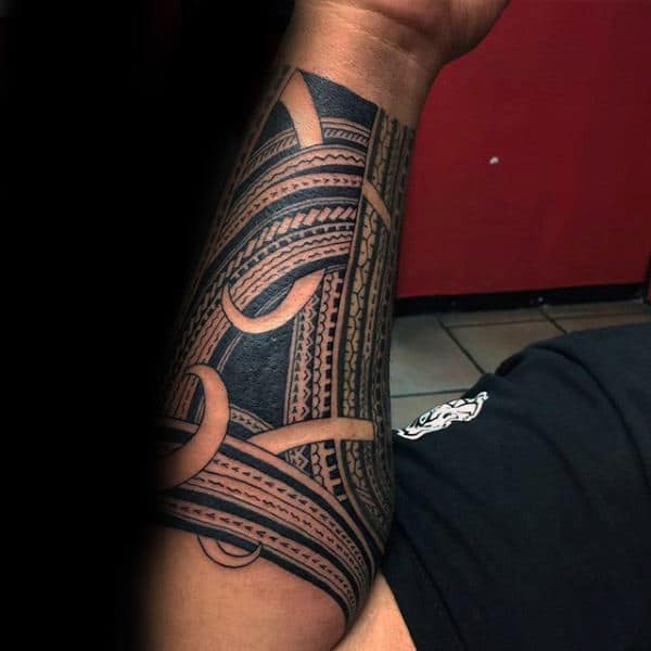 Forearm Sleeve With Samoan Design Mens Tribal Tattoo Inspiration