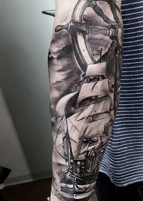 Forearm Sleeve With Ship And Wheel Guys Sweet Tattoo Ideas