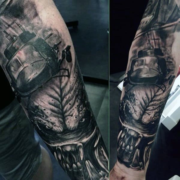 Forearm Sleeves Alien Vs Predator Themed Mens Tattoos