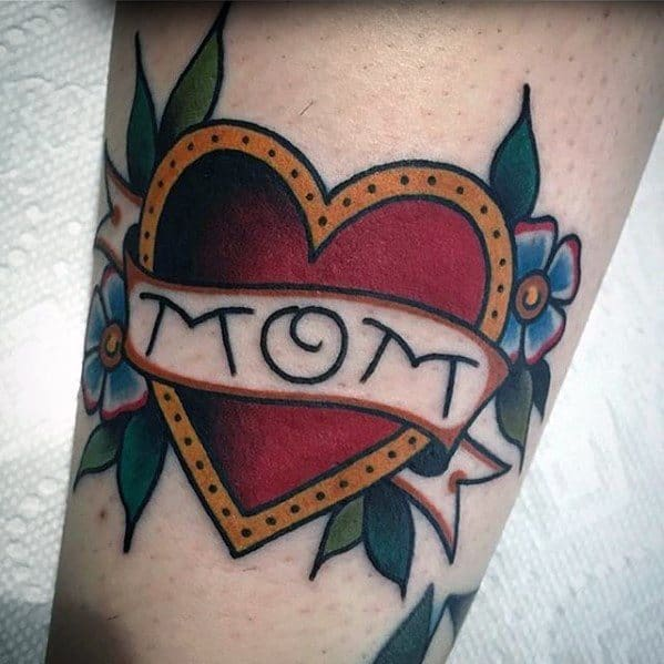 Forearm Small Heart Traditional Mom Tattoos For Gentlemen
