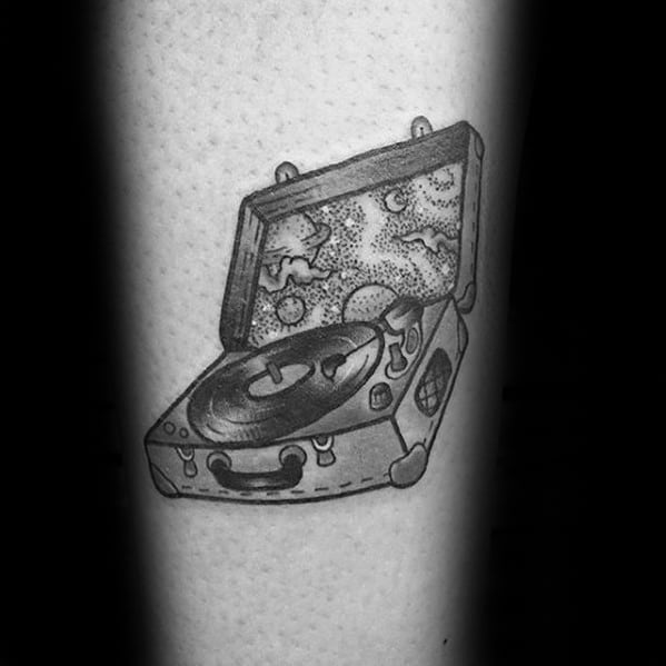 Forearm Small Mens Suitcase Vinyl Record Tattoo Design Ideas