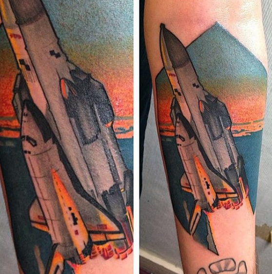 Forearm Spaceship Shuttle Amazing Tattoos For Guys