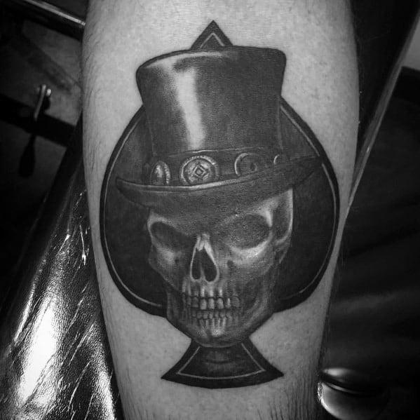 Forearm Spade Top Hat Male Tattoos