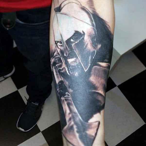 Forearm Spartan Shield Tattoo For Men