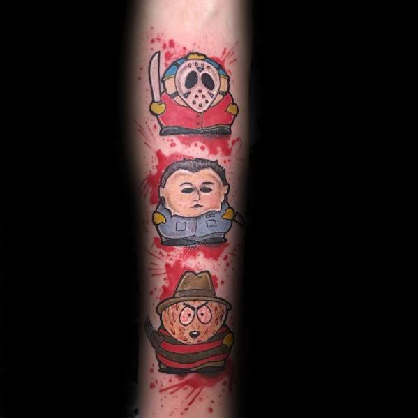 Forearm Stan Kyle And Cartman South Park Tattoo On Man