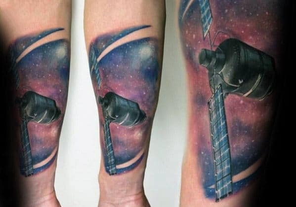 Forearm Stars In Outer Space Sky Satellite Male Tattoo Ideas