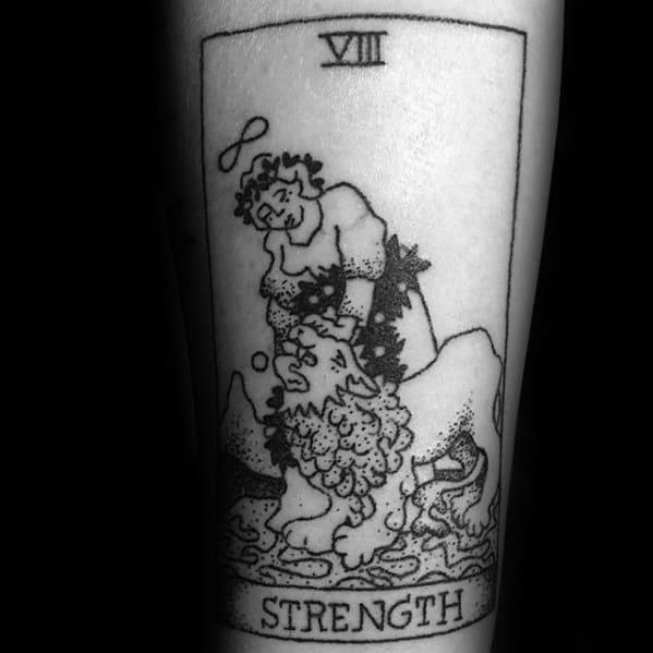 Forearm Strength Lion Card Tarot Tattoo Ideas On Guys