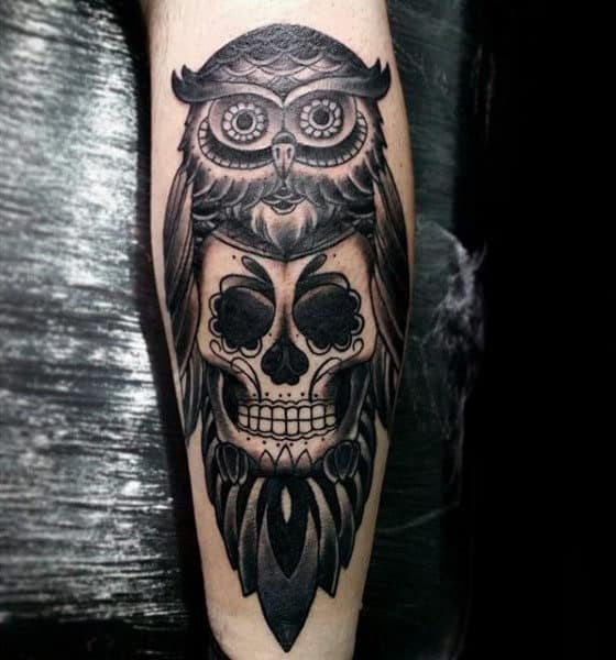 Forearm Sugar Skull Owl Tattoo For Guys
