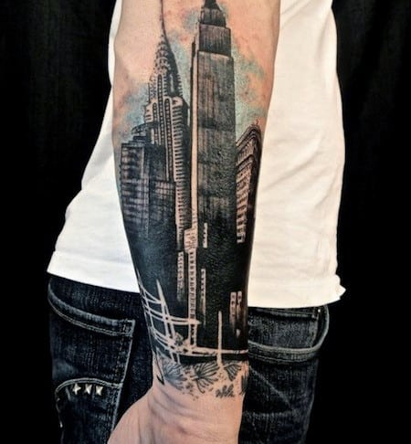 City Forearm Tattoo Designs For Men
