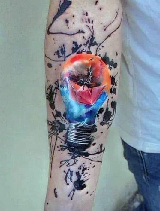 Light Bulb Forearm Tattoo For Men