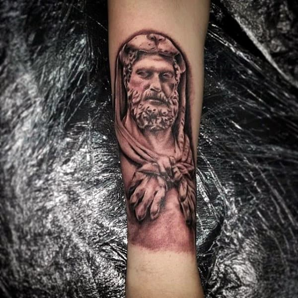 Forearm Tattoo Of Hercules On Male