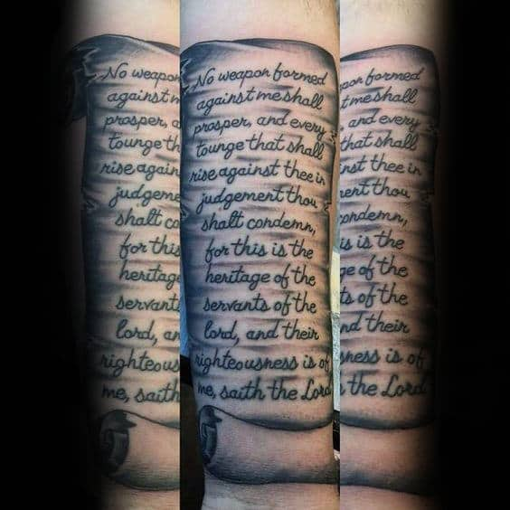 Forearm Tattoo Of Quote Written On Scroll For Men