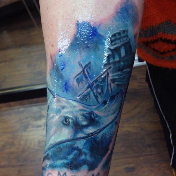 Forearm Tattoo Of Water For Guys