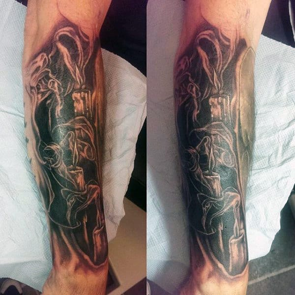 Forearm Tattoo Smoke Shading For Men