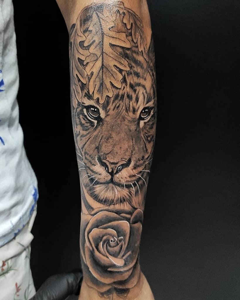 forearm tiger rose tattoos d9_tattoo