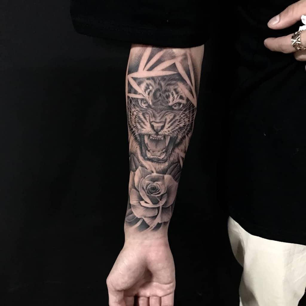 forearm tiger rose tattoos solgimun