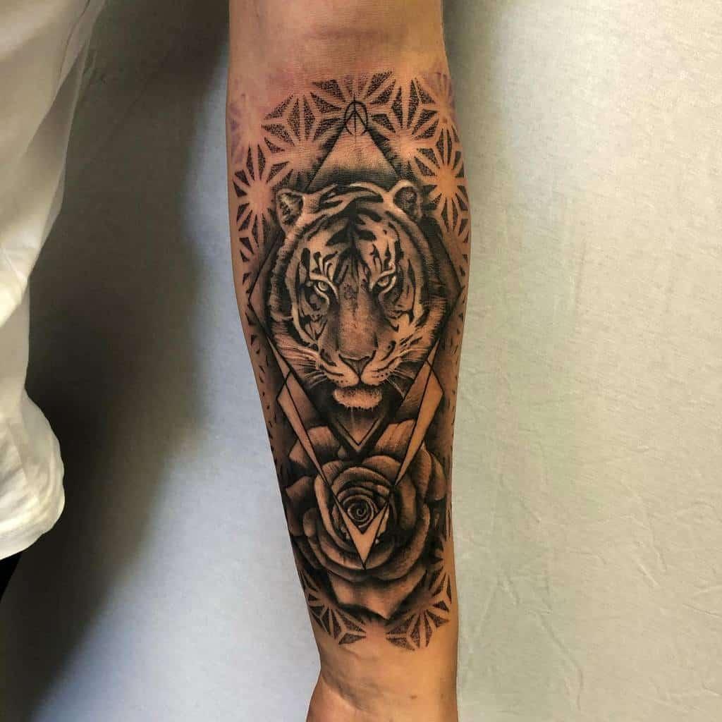 forearm tiger rose tattoos stevestattooing