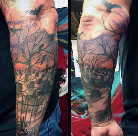 Forearm Tombstone Graveyard Tattoos For Men