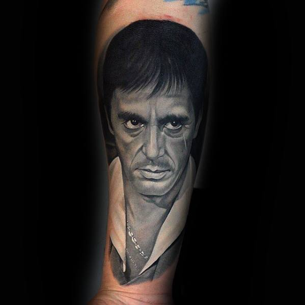 Forearm Tony Montana Portrait Tattoo Ideas For Gentlemen