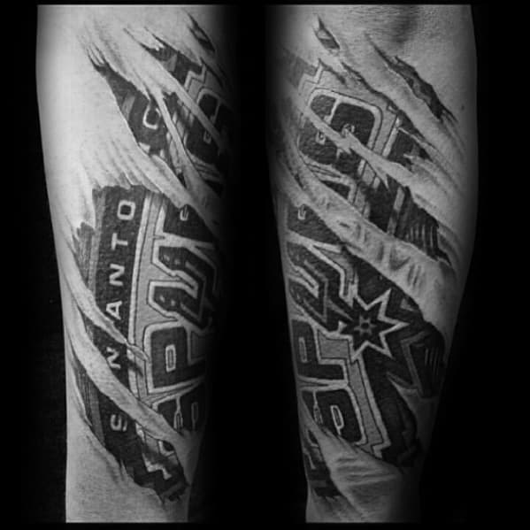 Forearm Torn Skin Masculine San Antonio Spurs Tattoos For Men