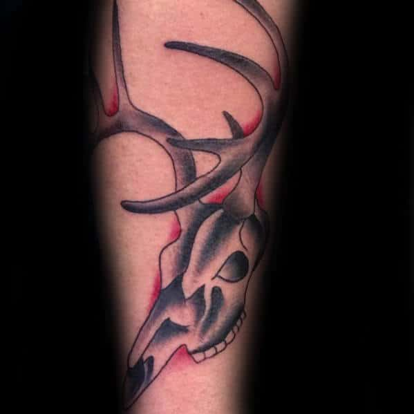 Forearm Traditional Deer Skull Tattoos For Men